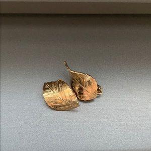 Christian Dior vintage gold leaf clip earrings